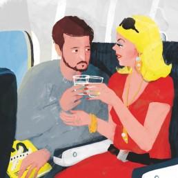 im Flugzeug Illustration von Jennifer Daniel für das GQ Magazin