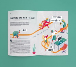 Doppelseite Illustration - Handelsblatt Karriere