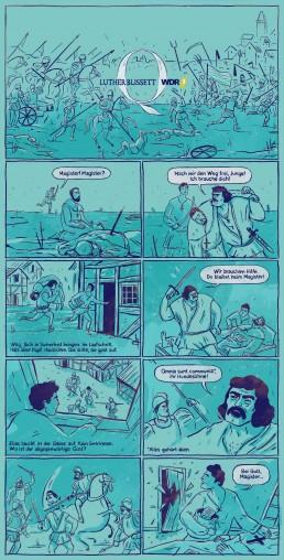 Comic für das WDR Hörspiel Q von Luther Blissett - gezeichnet von Jennifer Daniel