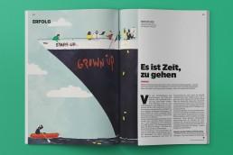 Wenn Startups groß werden ist es Zeit für die Gründer das Schiff zu verlassen – Editorial Illustration für das Magazin Wirtschaftswoche gezeichnet von Jennifer Daniel