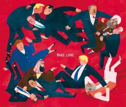 Illustration von Jennifer Daniel Karrikatur von Angela Merkel, Donald Trump, Vladimir Putin, Macron, Boris Johnson,